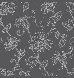 sketchy drawing floral seamless pattern vector image