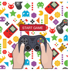 start game hand holding game controller icon game vector image