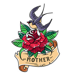 Tattoo red rose with ribbon bird and word mother vector