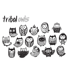 Tribal owl set in monochrome vector