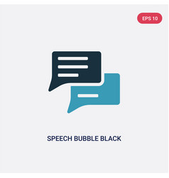 two color speech bubble black icon from shapes vector image