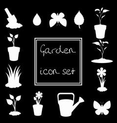 white gardening icon set isolated on black vector image