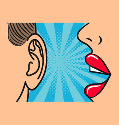 woman lips whispering in mans ear vector image
