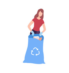 Young woman collecting trash into plastic bag vector