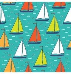 Colorful sailboats seamless pattern vector image