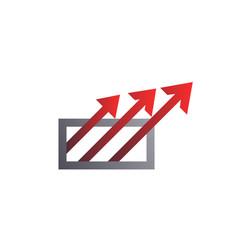 square with arrows logo template arrow logo vector image
