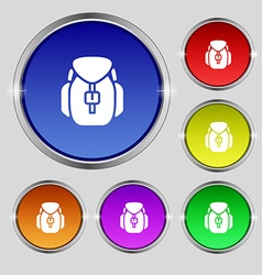 Backpack icon sign Round symbol on bright vector image