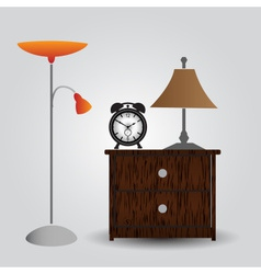 bedroom bedside table and alarm clock eps10 vector image