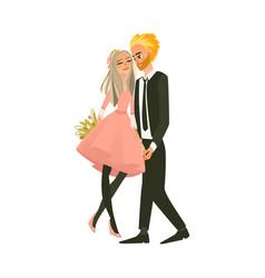 cartoon couple in love hugging vector image vector image