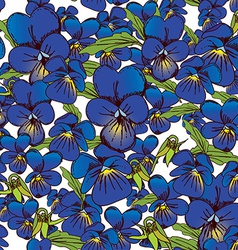 flowers of pansies and leaves seamless blue vector image vector image