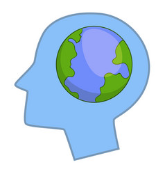 globe in human head icon cartoon style vector image