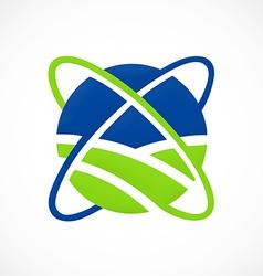 globe orbit abstract communication logo vector image vector image