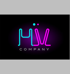 neon lights alphabet hv h v letter logo icon vector image vector image
