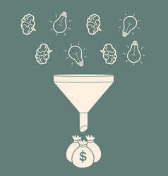 profit concept brains and light bulb falling into vector image