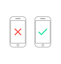 two smartphones with yes and no signs vector image vector image