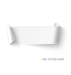 White paper curved ribbon banner with roll vector image vector image