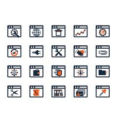 Business icon set Software web development finance vector image