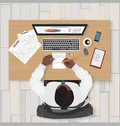 Business workplace Top view of businessman vector image