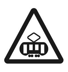 crossing with a tram sign line icon vector image