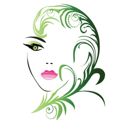 Girl face with swirly leaf vector image