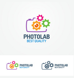 photolab logo set with photocamera and gears vector image vector image