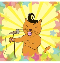 Cat sings a song into the microphone vector image
