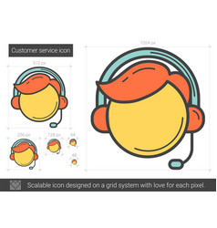 Customer service line icon vector