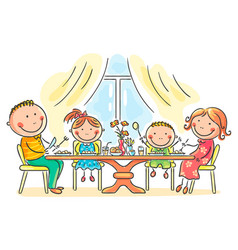 family having meal together vector image