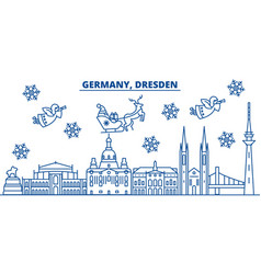 germany dresden winter city skyline merry vector image vector image