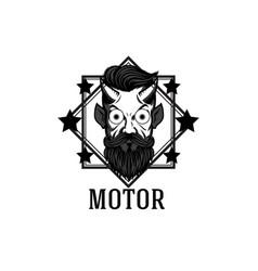 motor devil star square frame white background vec vector image