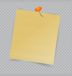 note paper with pin on checkered background vector image vector image