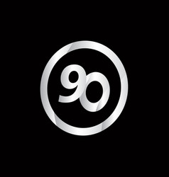90 anniversary celebration circle silver number vector