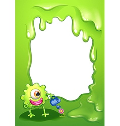 A border with a green monster watering a plant vector image