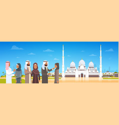 Arab people coming to mosque building muslim vector