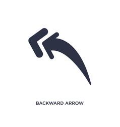 Backward arrow icon on white background simple vector