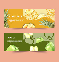 Banner design with pineapple and apple concept vector