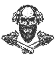 Bearded and mustached lumberjack skull vector