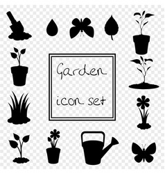 black silhouette of gardening icons set isolated vector image