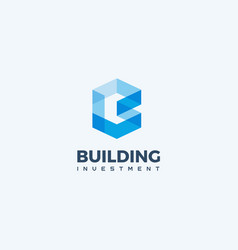 blue geometric logo construction company vector image