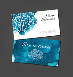 Business card with coral on blue watercolor stain vector image
