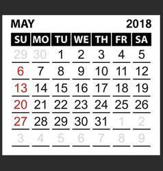 calendar sheet may 2018 vector image