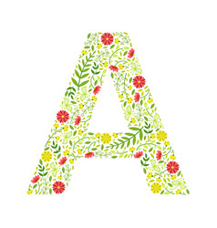 Capital letter a green floral alphabet element vector
