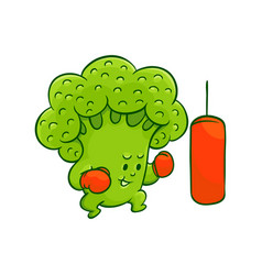 cartoon broccoli character boxing vector image