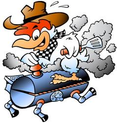 Cartoon of an chef chicken riding a bbq grill vector
