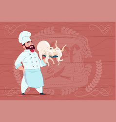 Chef cook hold octopus smiling cartoon restaurant vector