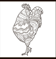 cock coloring page coloring book chicken vector image