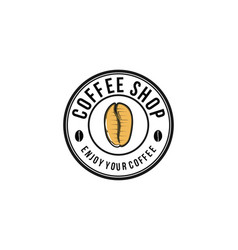 coffee shop with coffee bean logo design vector image