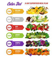 Color diet vegetables fruits spices and herbs vector