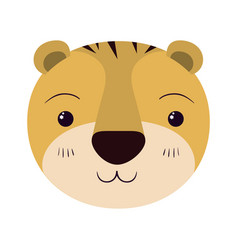Colorful caricature cute face of tiger tranquility vector