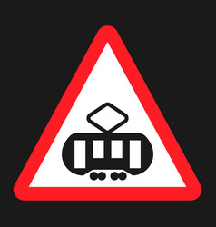 Crossing with a tram sign line flat icon vector